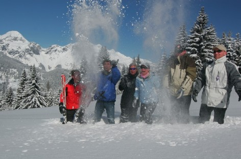 Snowball fight during a vacation  in St. Martin am Tennengebirge